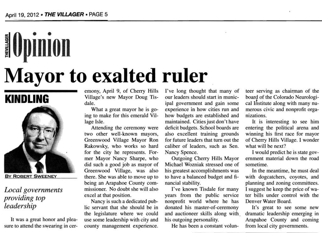 Robert Sweeney Editorial, The Villager, April 19, 2012