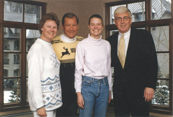 Pat and Doug Tisdale, with their daughter Sara, meet with a friend in Vail.