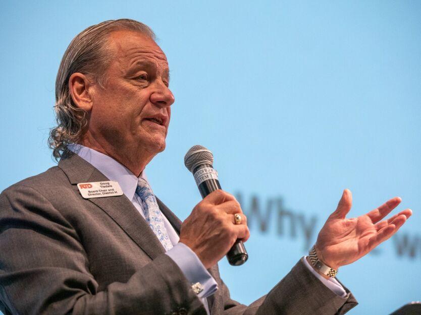 Doug Tisdale, Chair of RTD's board of directors, introduces Jarrett Walker. Photo: Andy Bosselman
